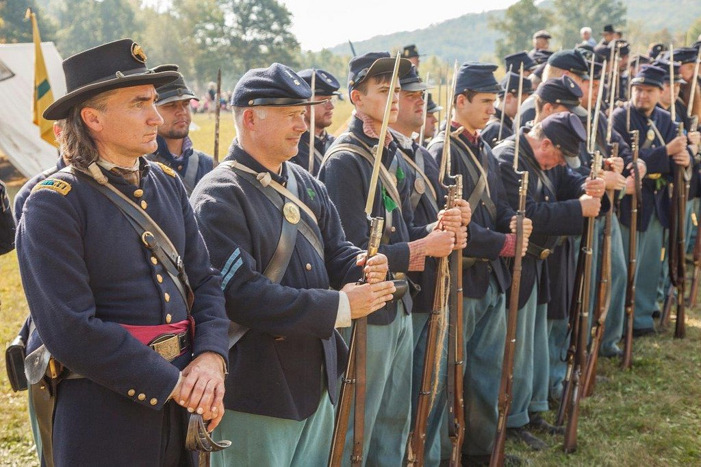 Union reenactors at the 2017 Battle of Pilot Knob. The full-scale reenactment is unique in that the number of reenactors is equal to the number of combatants in the historical battle.