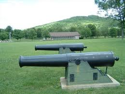A line of cannon at the present-day historic park. The site contains many artifacts and detailed exhibits of the Battle of Pilot Knob--a crucial moment in the latter days of the Civil War.