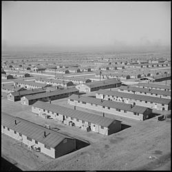 Aerial view of the internment camp during World War II.