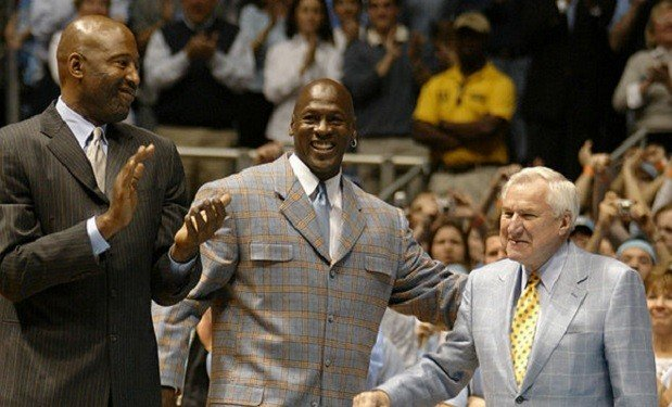 Jordan and his UNC family. Teammate James Worthy and head coach Dean Smith.