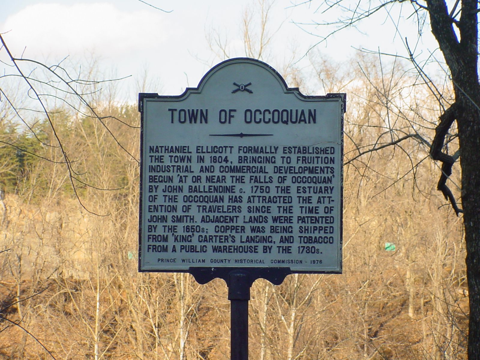 """Town of Occoquan"" Marker at the Mill House"