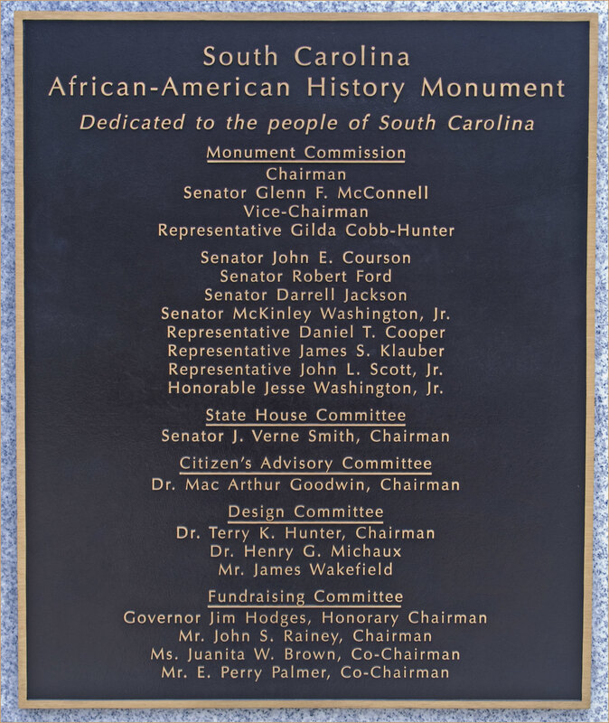 Plaque on the back of the monument.