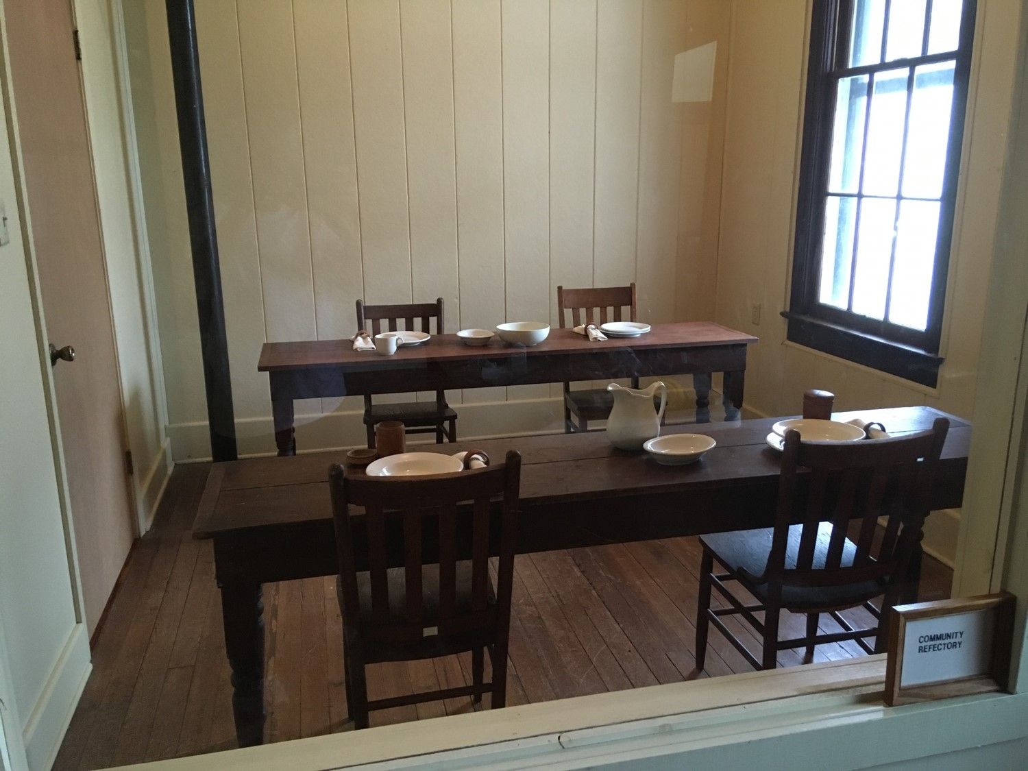 The Religious would eat together in the refectory. There was a long table where the superior and more senior Sisters ate and a number of other long bench tables where the other members of the community sat for meals.
