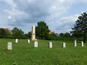 "The marble obelisk near the center of the grounds is a monument to T. W. Barber, an Ohio abolitionist shot by pro-slavery men during the Wakarusa War in December 1855. Barber was memorialized by John Greenleaf Whittier in his poem, ""Burial of Barber."
