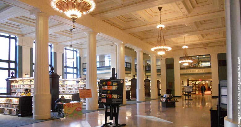 The main lobby of the library is one of the architectural gems of the city