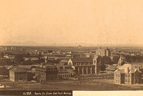 View of Santa Fe from Ft Marcy late 1800s