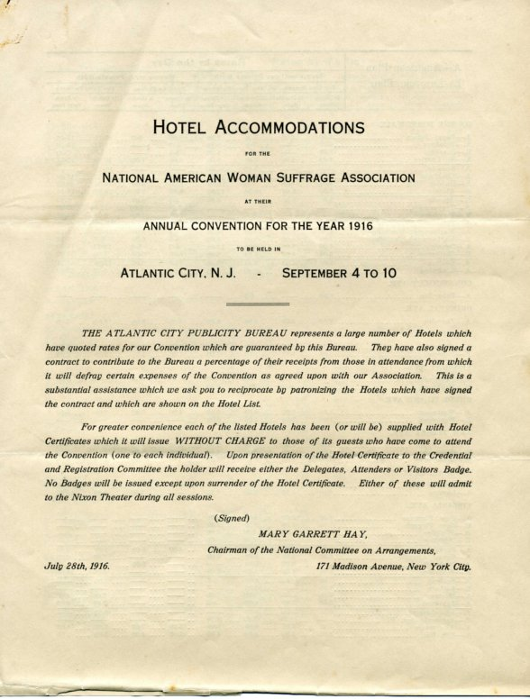 """Pamphlet advertising hotel accommodations for 1916 NAWSA Suffragists Convention-for more information about this convention, click on """"Women and the Vote in Atlantic City"""" below."""