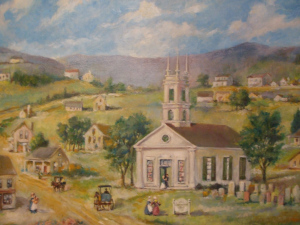This painting shows the congregation's first church and its centrality to the origins of Middletown.