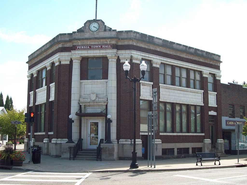 The former 1914 Bank of Gowanda building is now the Persia Town Hall.