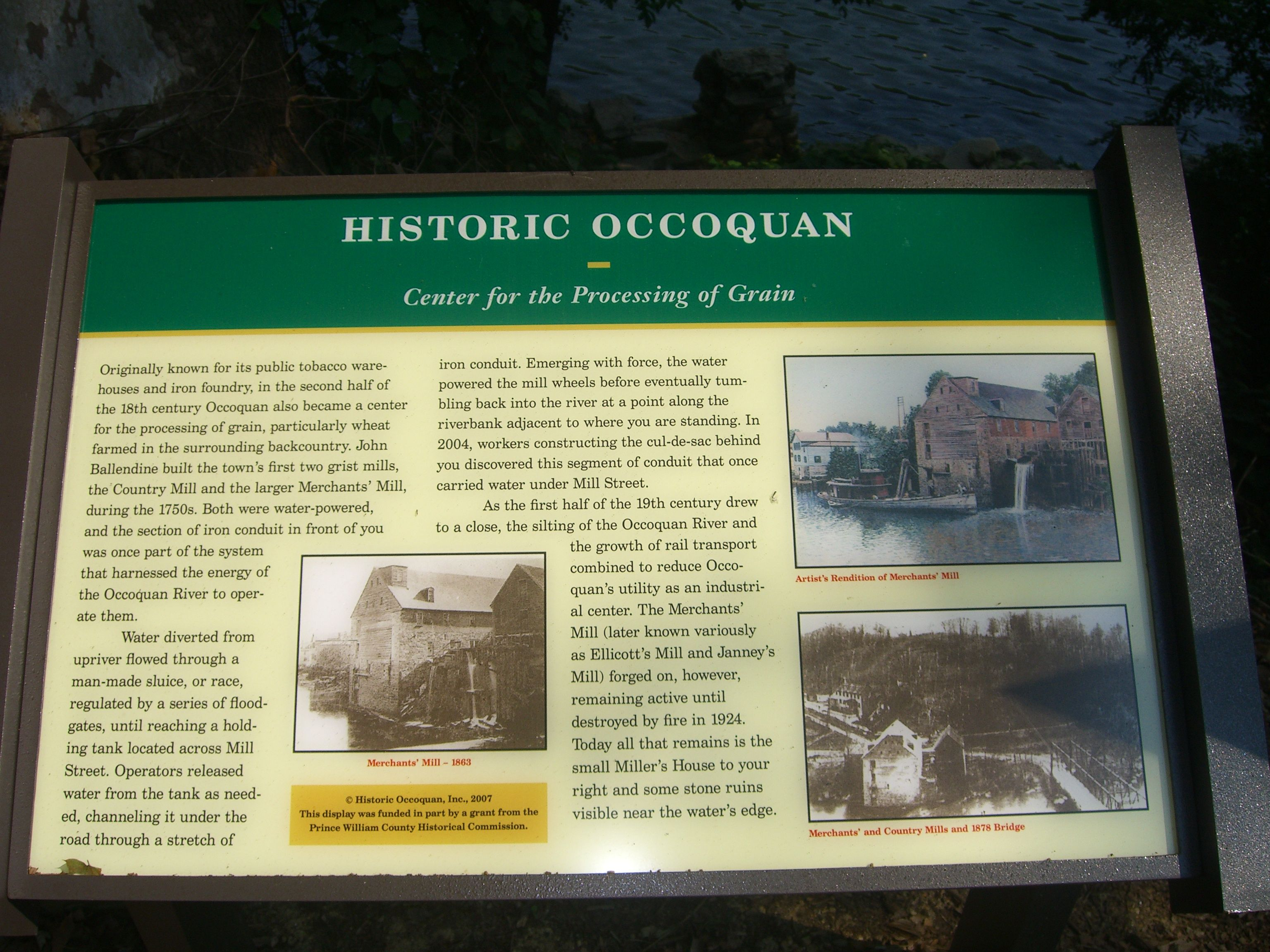"""Historic Occoquan: Center for the Processing of Grain"" Marker at the Mill House"
