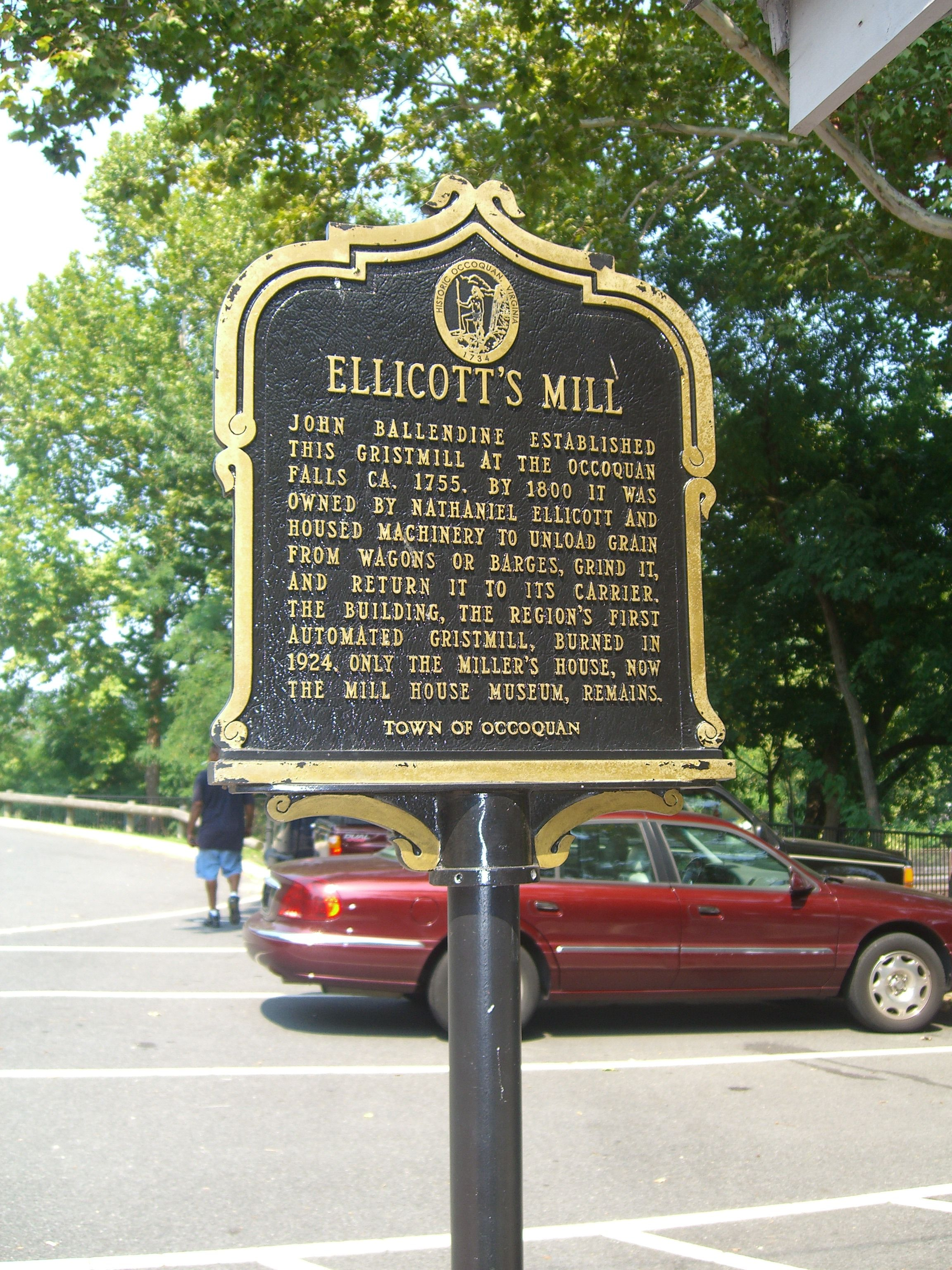 """Ellicott's Mill"" Marker at the Mill House"