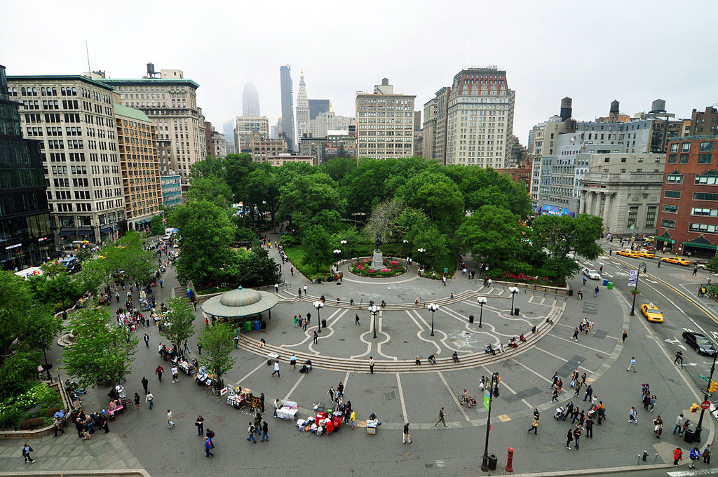 An aerial view of Union Square Park looking north from 14th Street