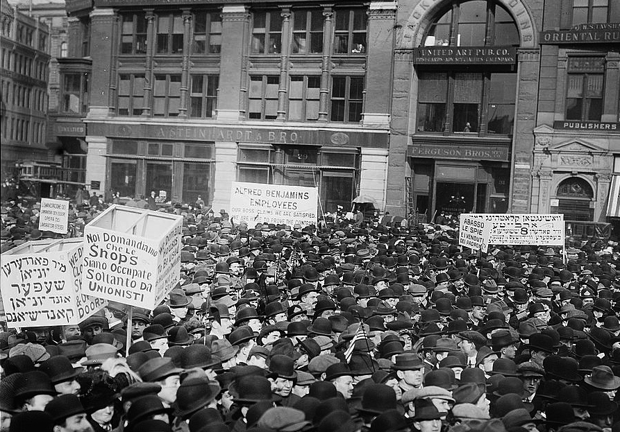 Striking workers and their supporters hold a protest in Union Square Park calling for better working conditions on May 1, 1913