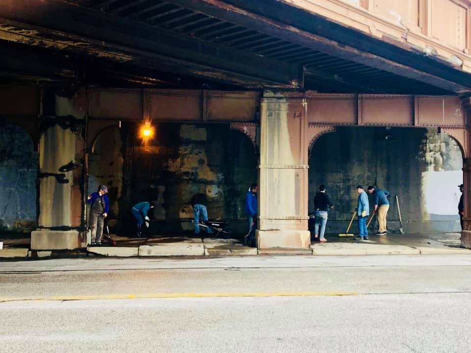 Friends of Lake Avenue Bridge cleanup May 4, 2019.