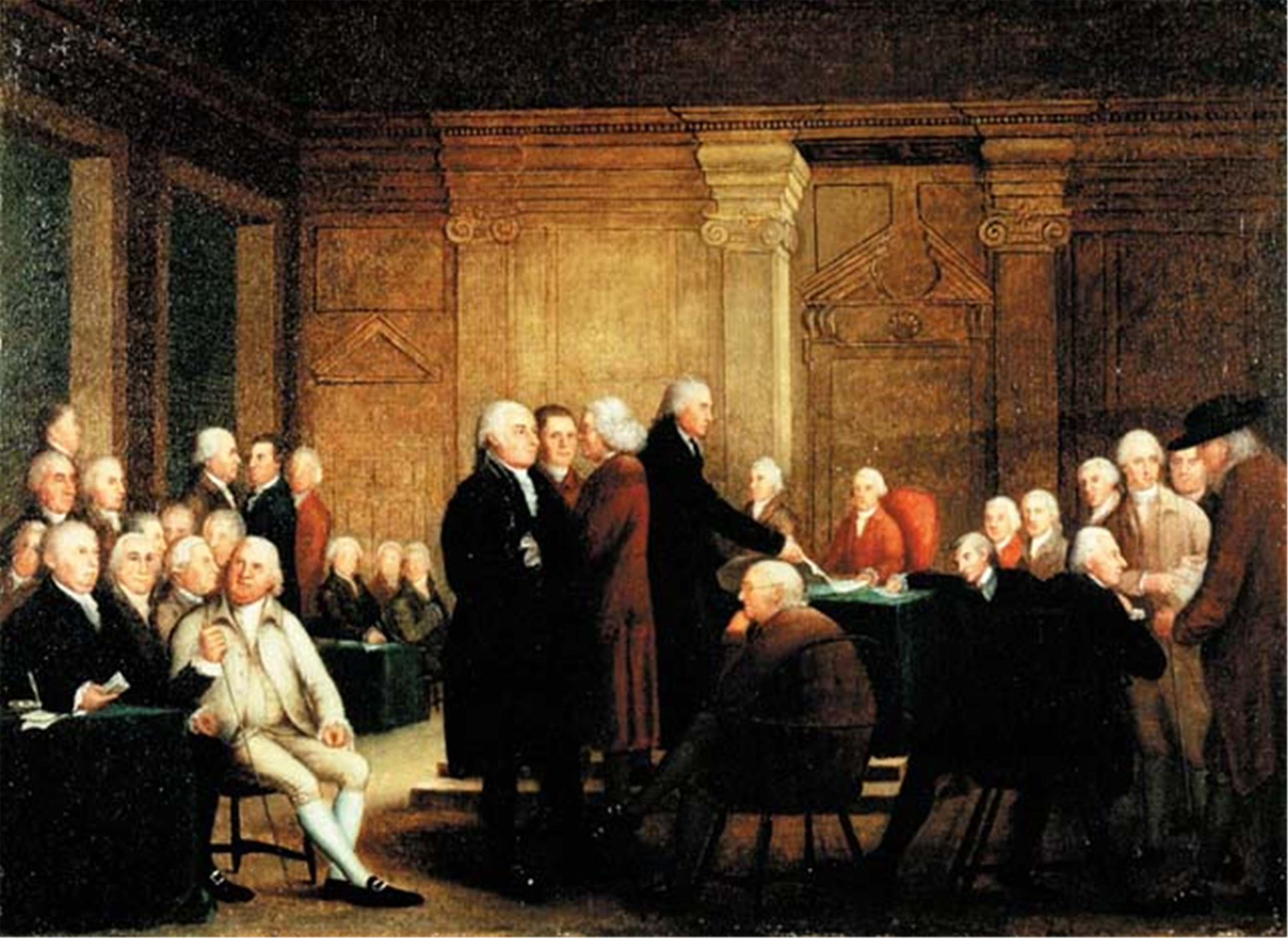 This painting, entitled The Congress Voting Independence, circa 1780s-1790s, was used as a reference for restoring the Assembly Room to its early American appearance. Courtesy of ExplorePAHistory and Atwater Kent Museum.