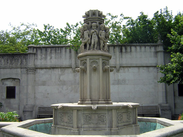 A picturesque fountain located within the park.