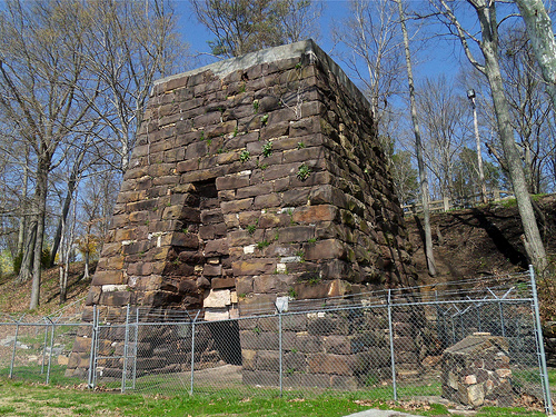 A photo of the furnace that exemplifies the enormity of the structure.