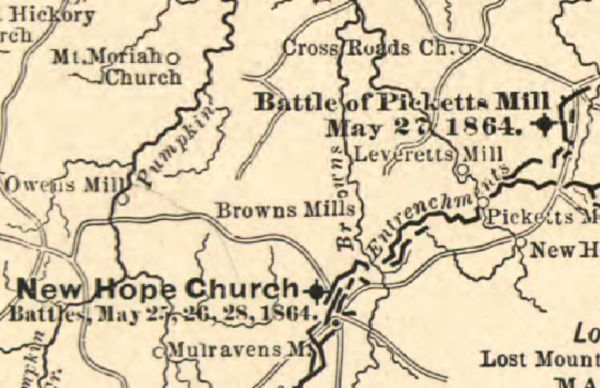 A Civil War map that mentions the Battle at Pickett's Mill.
