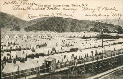 A picture depicting the Elmira prison camp taken during the Civil War.