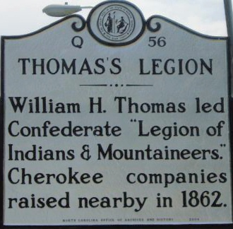 The marker commemorating the memory of William Thomas and his Legion of Native and White Confederates.