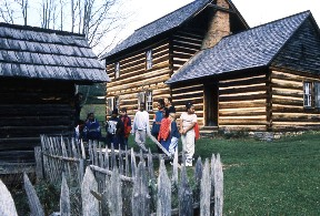 The Vance homestead was reconstructed around the original chimney and contain furnishings that are representative of the 1830s.