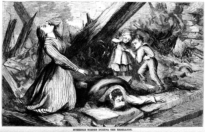 A drawing, created at the time of the massacre. The picture depicts the tragedy that followed the massacre as families in the area had lost one of heir loved ones who were convicted of being Union sympathizers within the Confederate state.