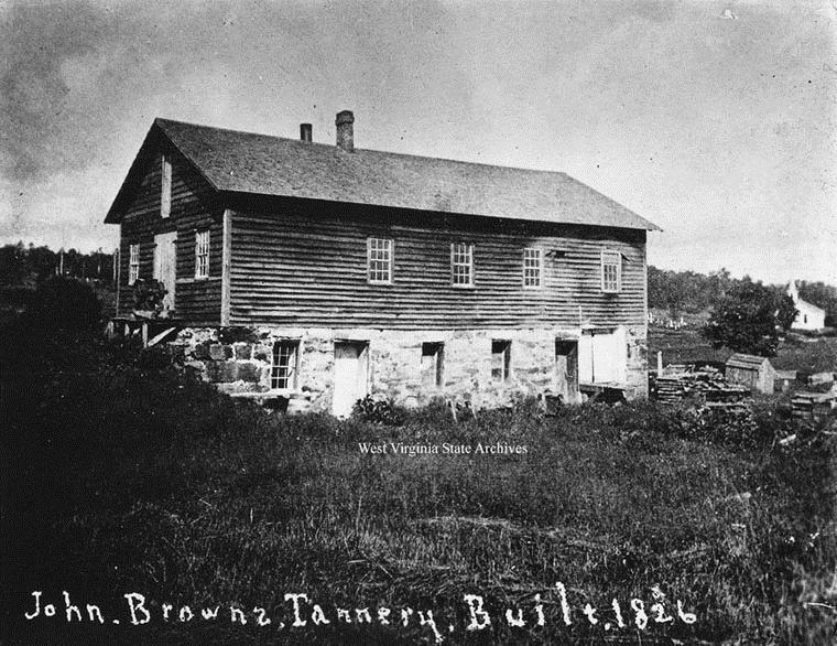 A photo taken during the time of John Brown, that shows what the tannery originally looked like.