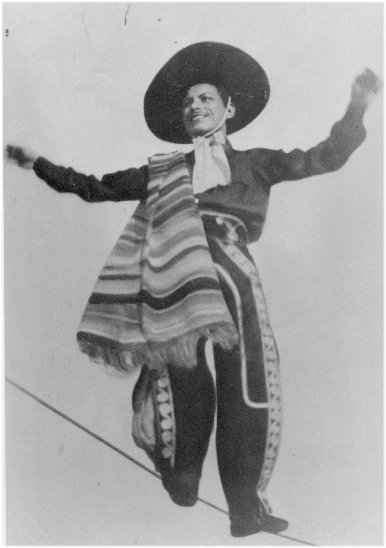 Pilar Garcia wowed audiences on the high wire in traditional Mexican charro dress.