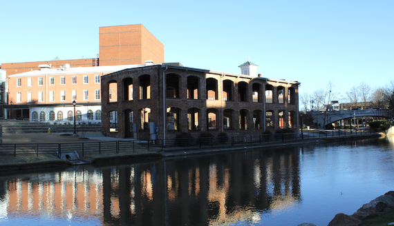 Another modern photo of the former industrial complex that exemplifies its' size and location among the Reedy River.