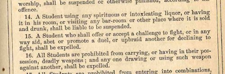 A selection from the 1869 University Catalogue that highlights the University's strict rule against fist fighting.