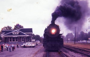 Steam Locomotion at the Depot around the mid -20th Century.