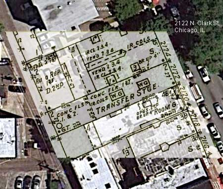 Russell Lewis took combined a satellite image of the street and created this map the historic structures using information from the 1935 Sanborn Fire Atlas.