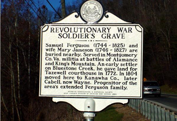 Historical marker near grave site.