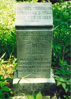 The headstone marking the graves of both Samuel Ferguson and his wife Mary Jameson.