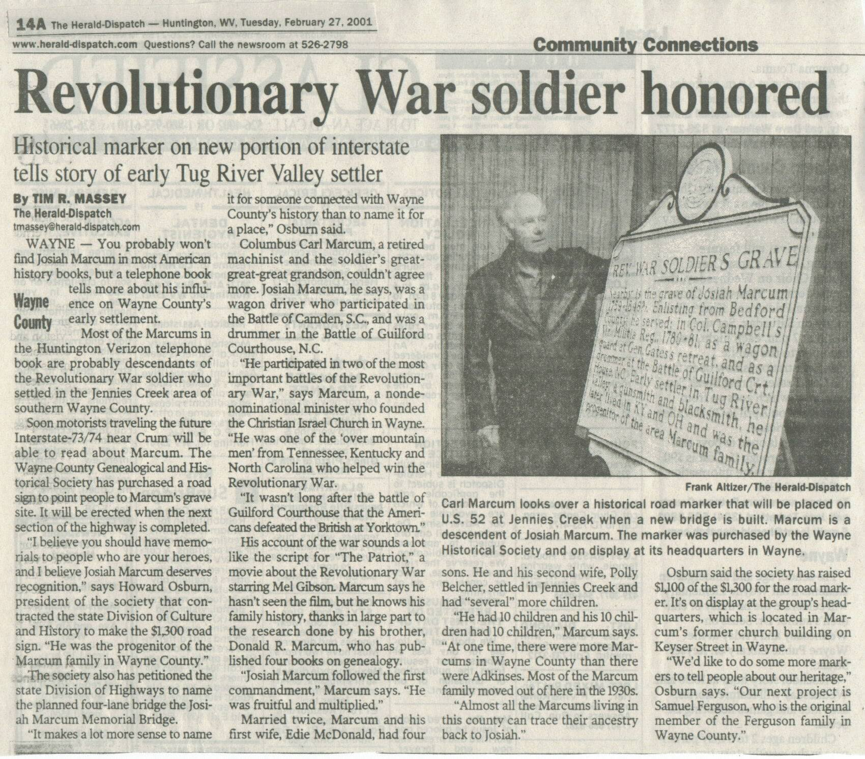2001 newspaper article about Marcum and the commissioning of the Historical marker.