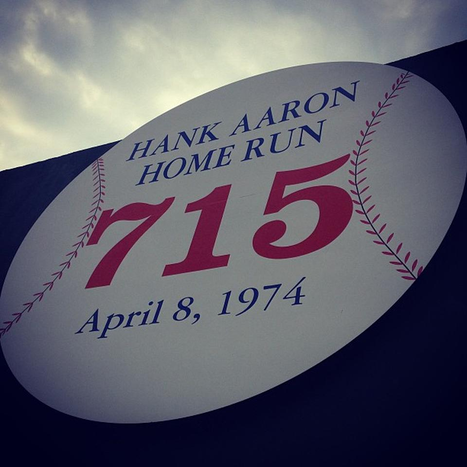 Close up of the Hank Aaron 715 Monument