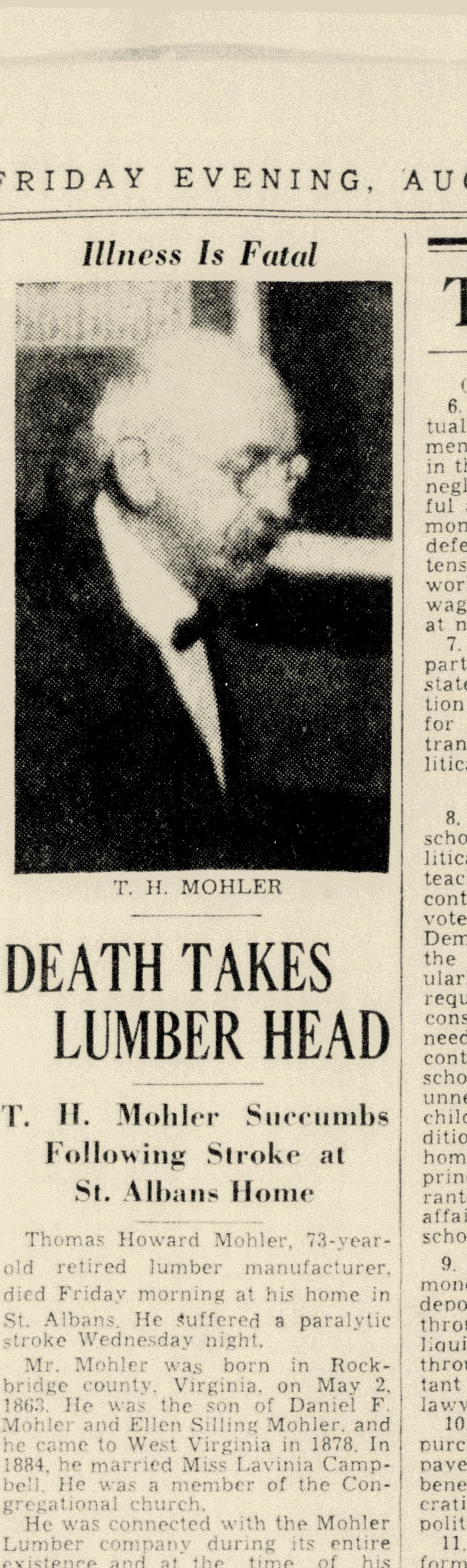Mohler Obituary in Charleston Daily Mail