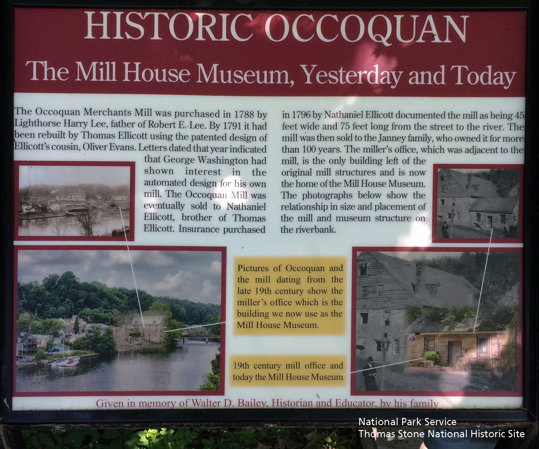 """Historic Occoquan: The Mill House Museum, Yesterday and Today"" Marker at the Mill House"