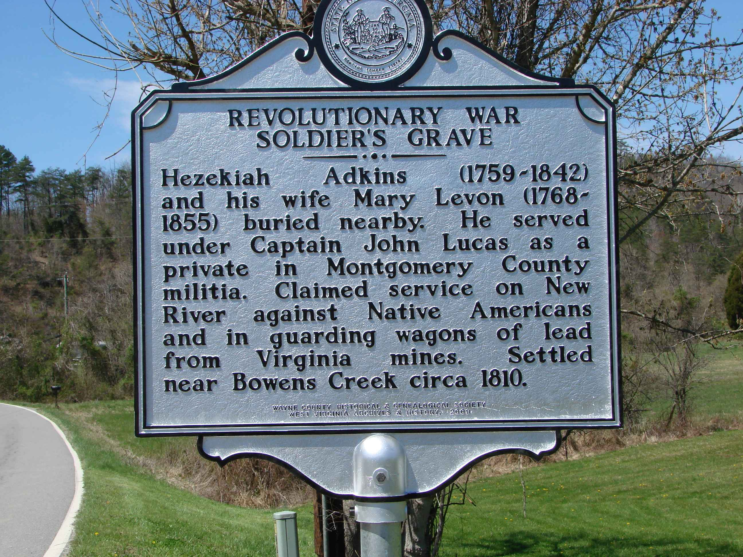 This is the highway marker set by the Wayne County Genealogical and Historical Society