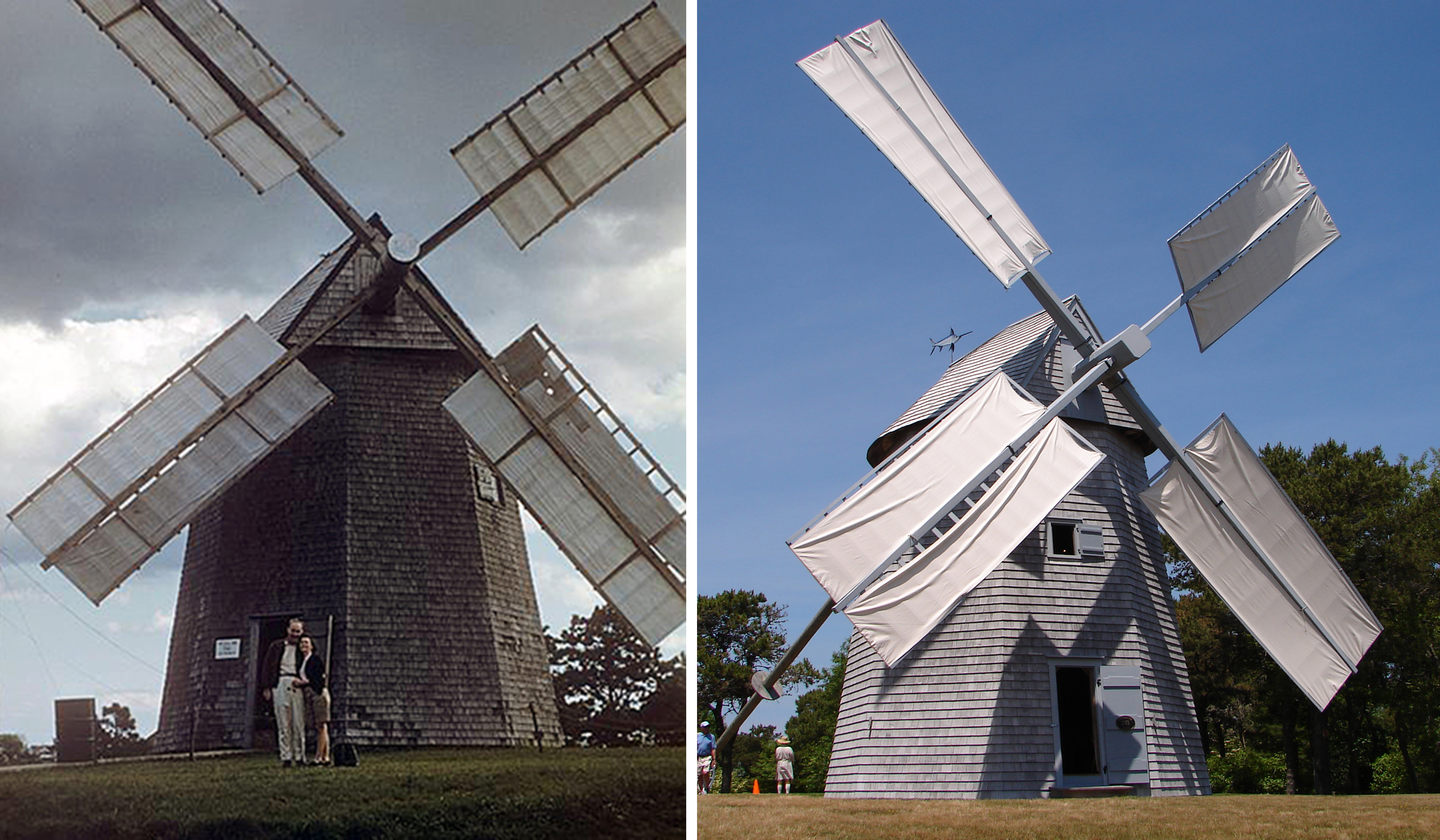 Then and Now:  These photos of the Godfrey Windmill, taken 60 years apart, show (left) the mill in 1956, the year it was opened to the public following its relocation to Chase Park and (right) a 2016 photo of the mill.