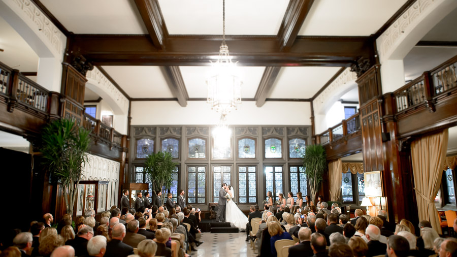 A happy couple is joined in matrimony at the Columbia Club.