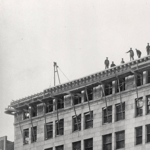 This 1922 photo shows crews nearing completion on the building. Image is the property of the Indiana Historical Society.