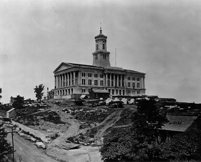 This historic photo shows the Tennessee Capitol during Union occupation.