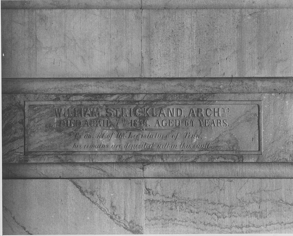 Here is the burial marker of William Strickland within the Capitol. Courtesy of Dept. of Conservation Photograph Collection at tnsos.org