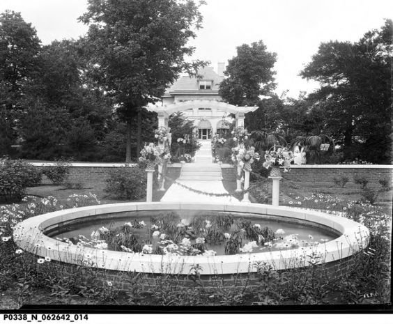 Oldfields mansion on grounds of IMA today. 1920s photo for a wedding. photo from Indiana Historical Society.