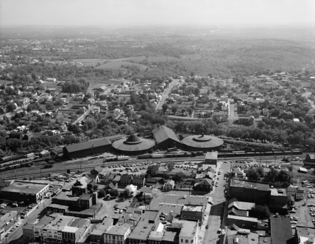 Birdseye view of the B&O Roundhouses in Martinsburg, West Virginia.