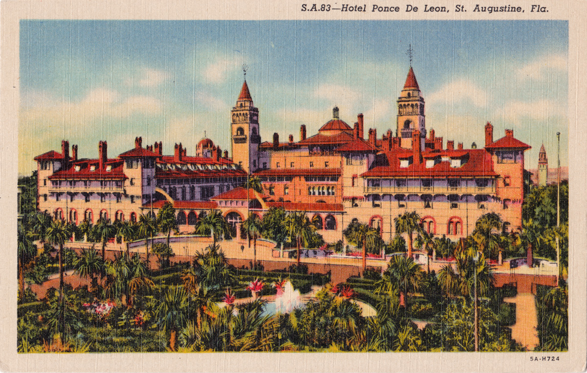 A historic postcard of the resort from the early 20th century. Flagler built this and other hotels along his Florida East Coast Railway which accelerated tourism and commercial development throughout the state.