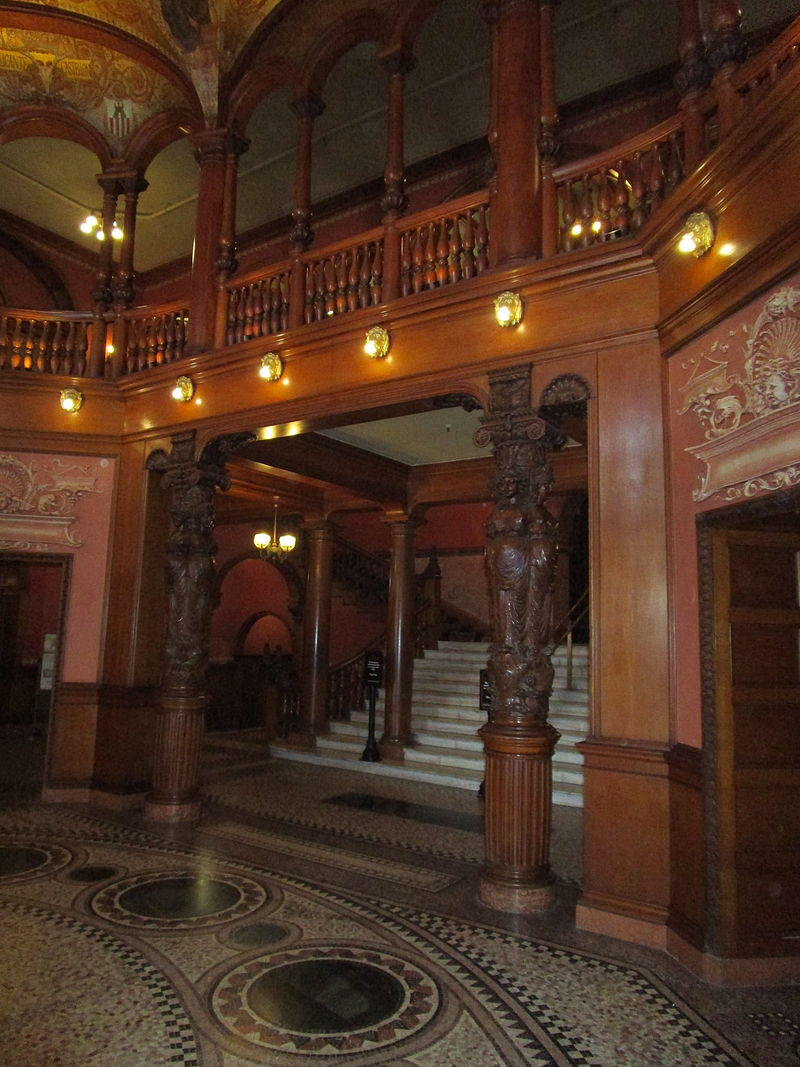 The hand-carved columns in the former lobby rotunda-now a part of Flagler College