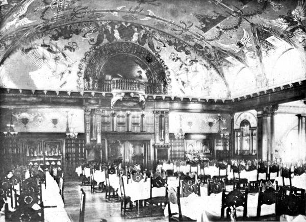 The hotel's main dining room in 1891.
