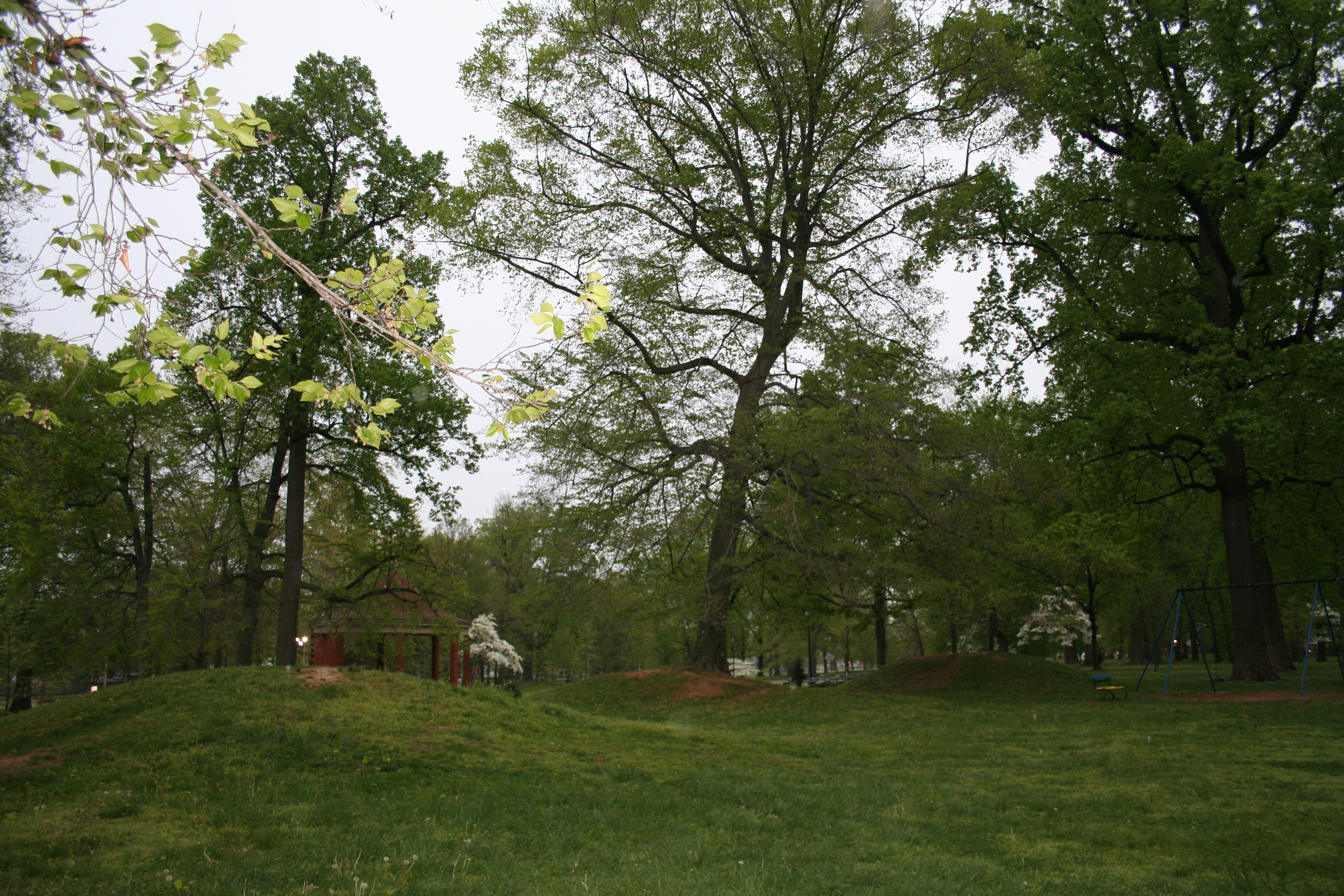 Photo of the Adena mounds in Ashland Central Park.